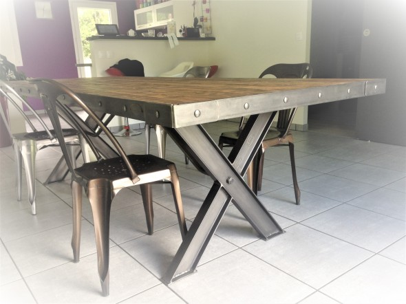 Table industrielle pieds en  X
